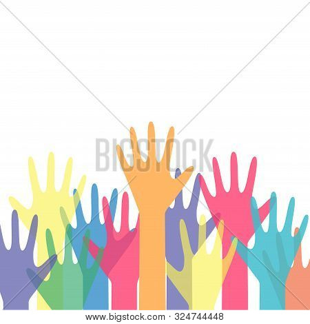 Human Hands Reaching Up Colorful Vector Illustration. Hands Reaching Out, Social Help Concept, Team,