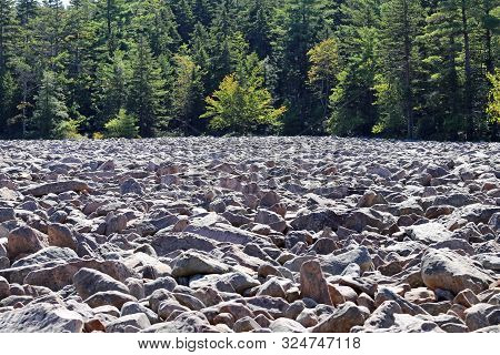 The Ancient Boulder Field At Hickory Run State Park In Pennsylvania.
