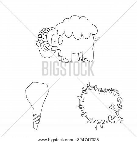 Isolated Object Of Primitive And Archeology Sign. Collection Of Primitive And History Stock Symbol F