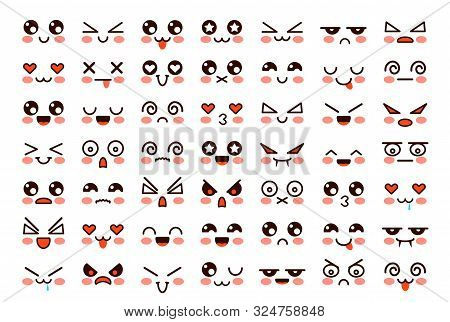 Kawaii Faces. Cute Cartoon Emoticon With Different Emotions. Funny Japanese Emoji With Eyes And Mout