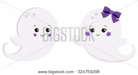 Vector Clipart Set Flat Style Kawaii Cute Sweet Cartoon Boy And Girl With Bow Ghost Isolated On Whit