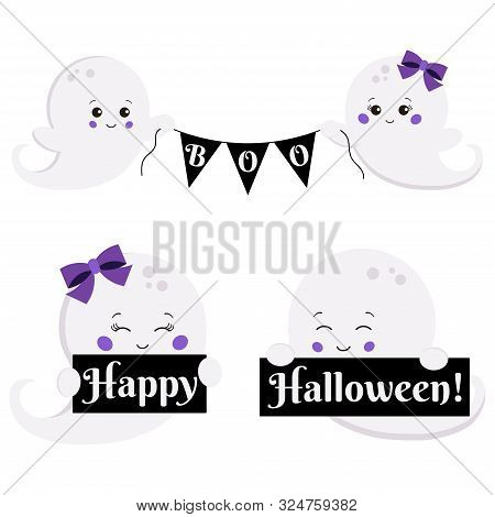 Vector Clipart Set Cartoon Flat Kawaii Style Cute, Little, Scary Boy And Girl Ghost With Boo Banner