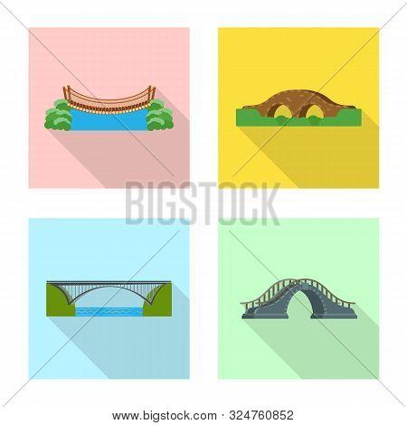 Isolated Object Of Bridgework And Bridge Logo. Set Of Bridgework And Landmark Stock Symbol For Web.