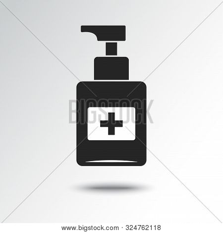 Disinfection. Hand Sanitizer Bottle Icon, Washing Gel. Vector Illustration