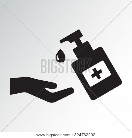 Disinfection. Hand Sanitizer Bottle Icon, Washing Gel. Vector Illustration