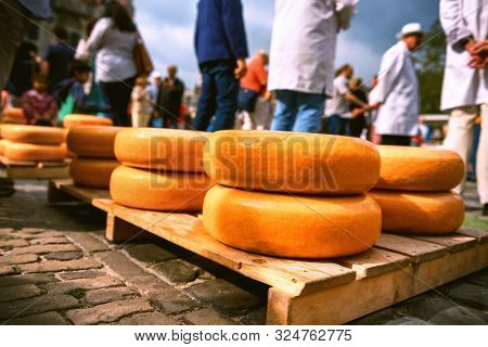 Holland Cheese Rounds At Traditional Outdoor Market