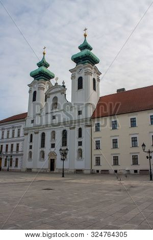 Historic Hungarian City Views Of Gyor, With Churches Old Lanterns And Szechenyi Square