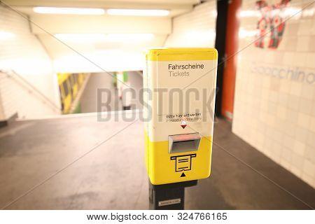 Berlin Germany - June 9, 2019: Train Ticket Validation Machine Berlin Germany