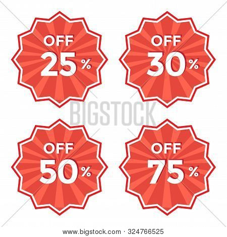 Set Of Round Red Label. 25, 30, 50, 75 Off Discount Price Sticker Vector Illustration