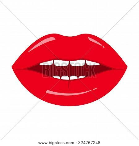 Red Lips Icon Isolated On White Background. Vector Illustration