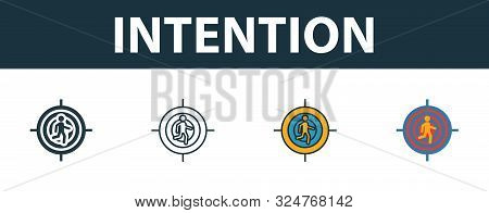 Intention Icon Set. Premium Symbol In Different Styles From Productivity Icons Collection. Creative