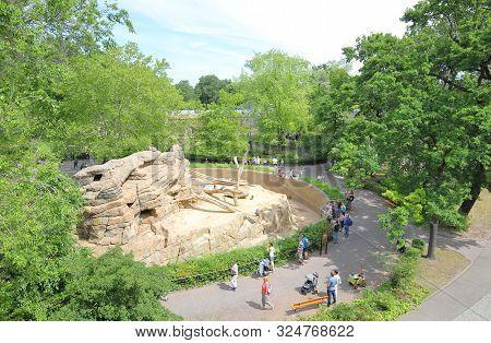 Berlin Germany - June 9, 2019: Unidentified People Visit Berlin Zoo Garden Germany