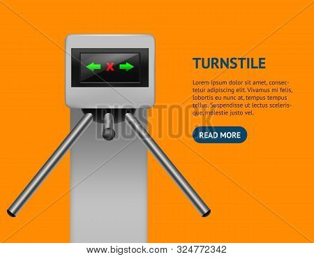 Realistic Detailed 3d Turnstile Entrance Access Card Control System Boundary Concept Electronic Tour