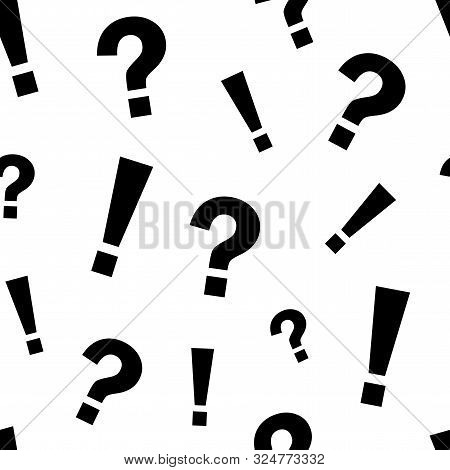 Seamless Pattern With Black Exclamation Mark And Question Mark On White Background. Vector Illustrat