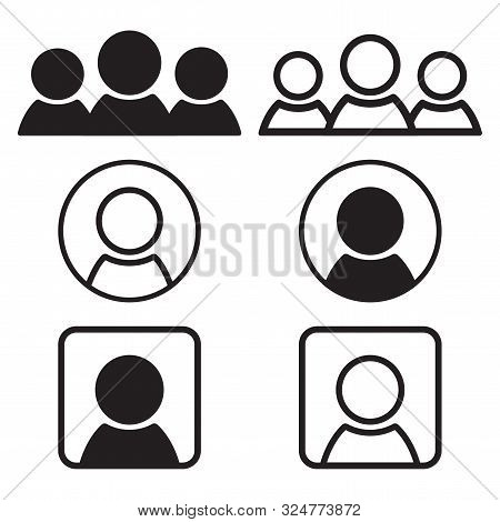 Set Of People Icons. Black Flat And Outline Design. Vector Illustration