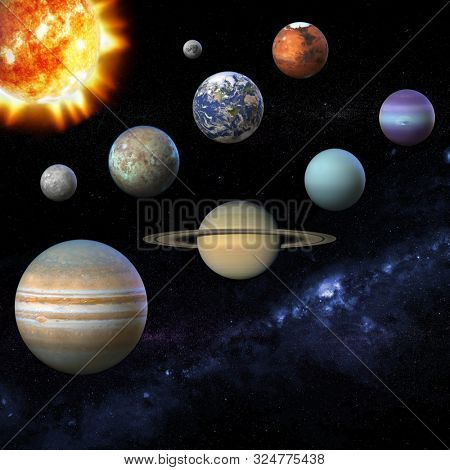 Solar system planet, sun and star. Sun, Mercury, Venus, planet Eearth, Mars, Jupiter, Saturn, Uranus, Neptune, Moon, Milky way.  3D Illustration. Texture for render some elements this image furnished
