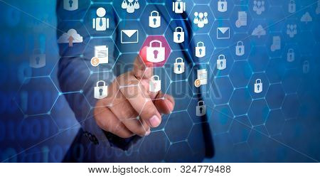 Button On Virtual Screen Pressed With Finger Global Network Security World Map Key Lock Security Sys