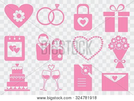 Wedding Set, Pink Silhouettes On Transparent Background. Vector Illustration.