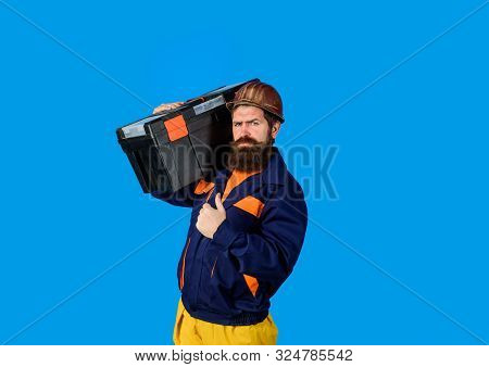 Man With Toolbox Giving Thumbs Up. Tools For Repair. Repair. Handyman Concept. Builder Man Carrying