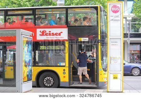 Berlin Germany - June 10, 2019: Unidentified People Travel By Bus In Downtown Berlin Germany