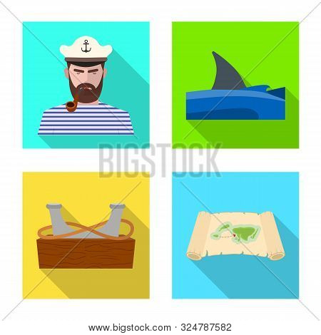 Isolated Object Of Travel And Attributes Icon. Set Of Travel And Seafaring Vector Icon For Stock.