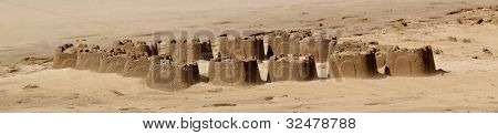 Many small sandcastles on a beach.