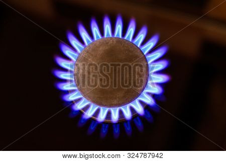 The Gas Is Burning, The Gas-stove Burner, The Hob In The Kitchen, Close-up. The Concept Of Problems