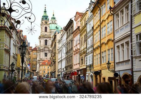 Crowd Of Tourists On Streets Of Prague. Tourism Concept.