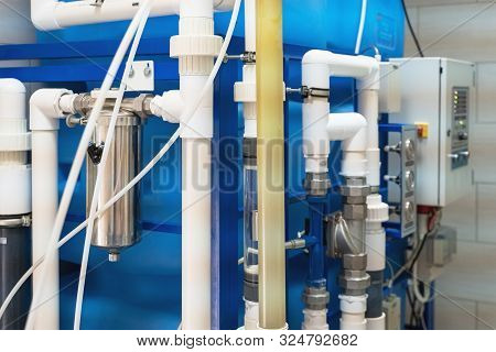Automated Ozone Generator For Ozonation Of Pure Drinking Water In Water Production Factory, Close Up