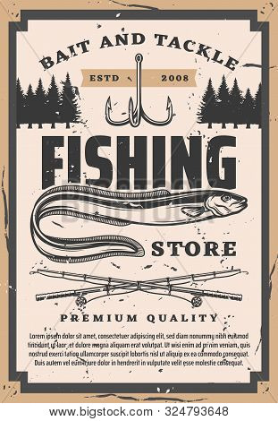 Eel Fishing, Vector Fisher Big Catch Bait And Tackles Store Vintage Poster. Sea And Ocean Fish Lures