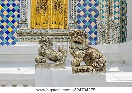 Bangkok, Thailand - April 18, 2018: Pair Of Highly Stylized Chinese Or Imperial Guardian Lions, A Ma