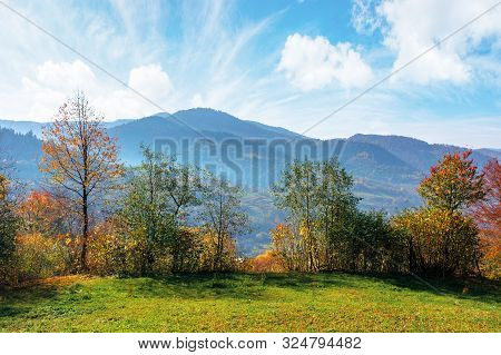 Mountainous Countryside On A Sunny Autumn Day. Trees In Colorful Foliage. Distant Ridge In Haze. Bri
