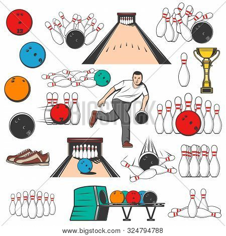 Bowling Game Equipment Pins And Ball Icons. Vector Bowling Tournament, Professional Player, Shoes, G
