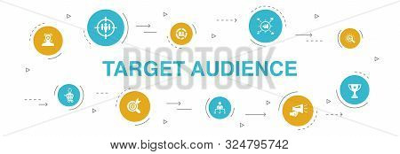 Target Audience Infographic 10 Steps Circle Design.consumer, Demographics, Niche, Promotion Icons