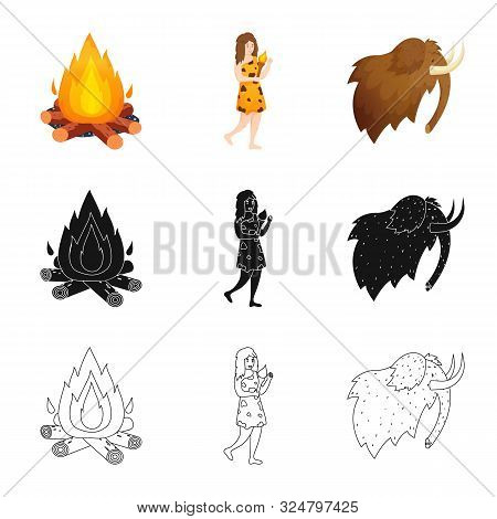 Isolated Object Of Evolution And Neolithic Icon. Collection Of Evolution And Primeval Vector Icon Fo