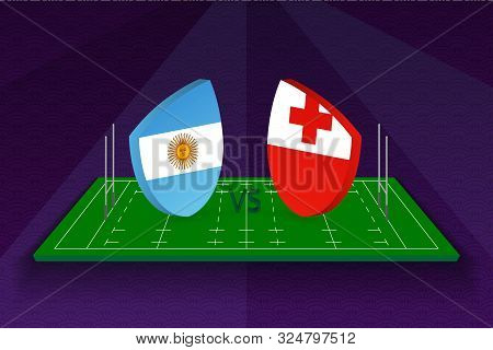 Rugby Team Argentina Vs Tonga On Rugby Field. Sport Vector Template.