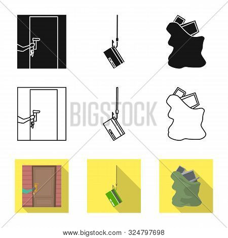 Vector Design Of Crime And Steal Logo. Set Of Crime And Villain Vector Icon For Stock.