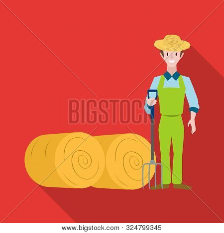 Isolated Object Of Farmer And Woman Symbol. Set Of Farmer And Rural Vector Icon For Stock.