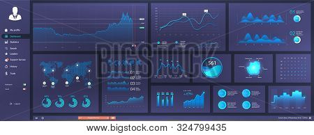 Informative And Simple Dashboard For Any Site Purposes. Colorful Infographics Template For Business