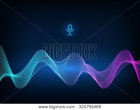 Voice Assistant Concept. Microphone Voice Control Technology, Voice And Sound Recognition. Vector So