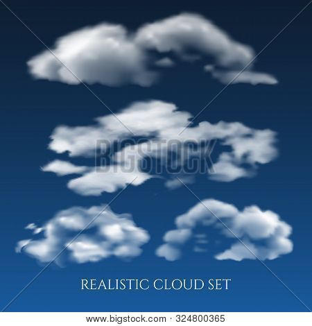 Realistic Clouds In Blue Sky. White Day Nubes, Beautiful Soft Cloud Set In Sunny Air Skies Space Vec