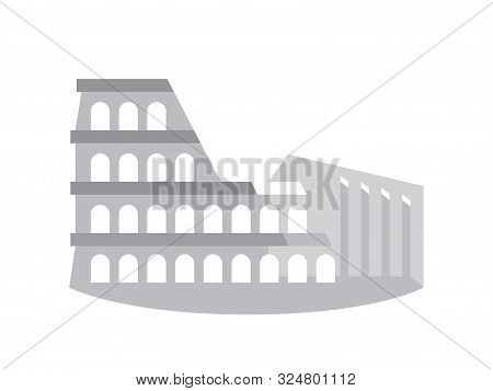 The Colosseum (coliseum), Also Known As The Flavian Amphitheater, Rome, Italy. Stylized Drawing.