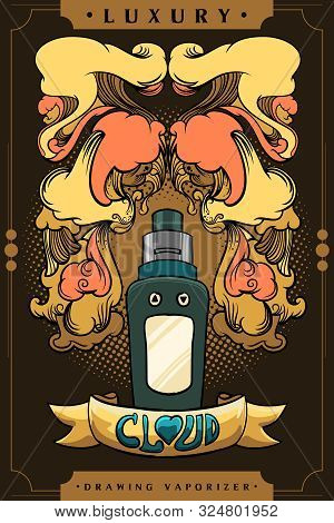 Vintage Drawing Vector Art Of Vaporizer, Retro Colors By Golden Scheme. Adaptive With Comic Style An