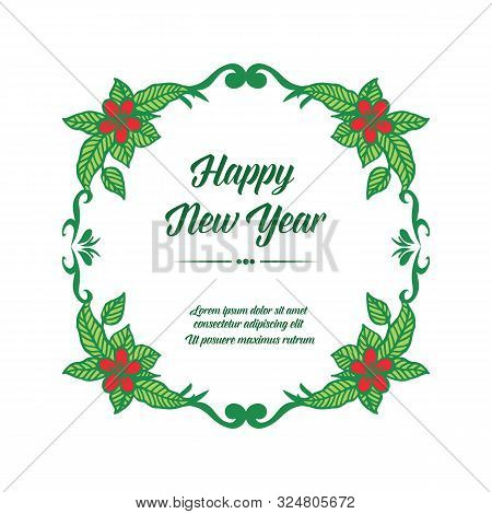 Celebration Greeting Card Happy New Year, With Style Of Green Leafy Floral Frame. Vector