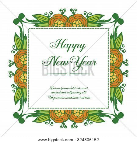 Handwritten Greeting Card Happy New Year, With Texture Of Colorful Flower Frame. Vector