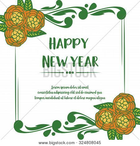 Vintage Card Happy New Year, With Decor Style Of Colorful Flower Frame. Vector