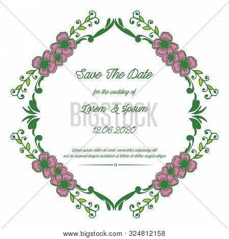 Design For Banner Save The Date, With Decoration Of Pink Flower Frame. Vector