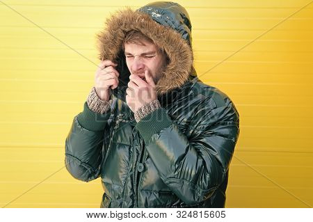 He Has Got Cold And Flu. Casual Fashion Coat For Cold Winter Conditions. Handsome Man Wearing Faux F