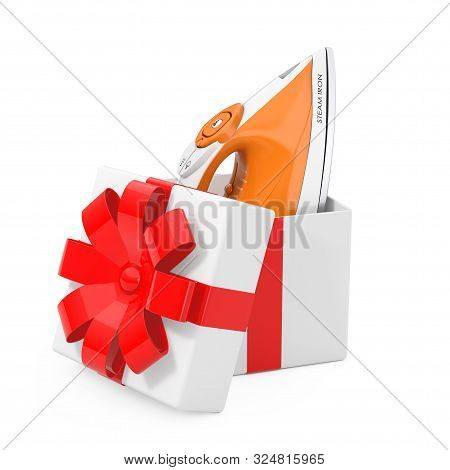 Electric Clothes Steam Iron Come Out Of The Gift Box With Red Ribbon On A White Background. 3d Rende