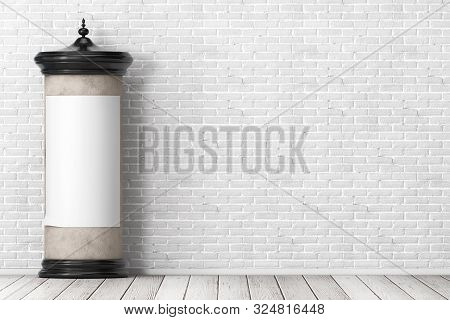 Empty Blank Cylindrical Advertising Column Billboard Mockup With Free Space For Your Design In Front